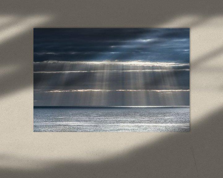 Sfeerimpressie: Lichtgordijn boven de oceaan aan de kust van Lanzarote- van Harrie Muis