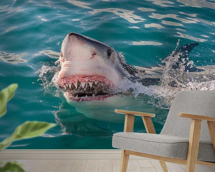 Sfeerimpressie behang: Great White Shark (Witte Haai) van Harry Eggens