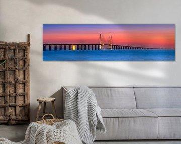 Sonnenuntergang an der Öresundbrücke, Malmö, Schweden