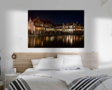 oude haven van Enkhuizen bij nacht.. van Anneke Reiss