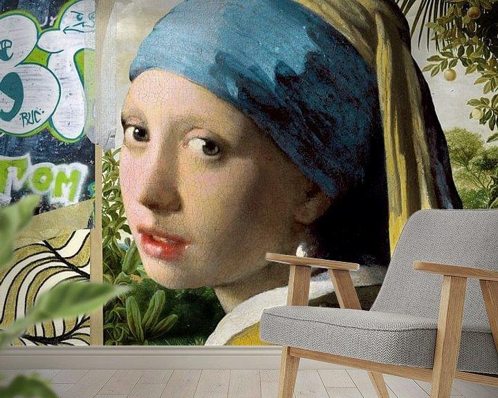Sfeerimpressie behang: Meisje met de Parel - The Mash-Up van Marja van den Hurk