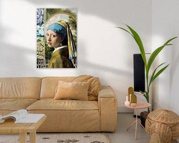 Mädchen mit der Perle (digitale Collage) von Marja van den Hurk