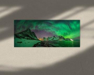 Panorama of Aurora over Tugeneset rocky coast with Kliptinden mountains in background, Senja,, Norwa van Wojciech Kruczynski