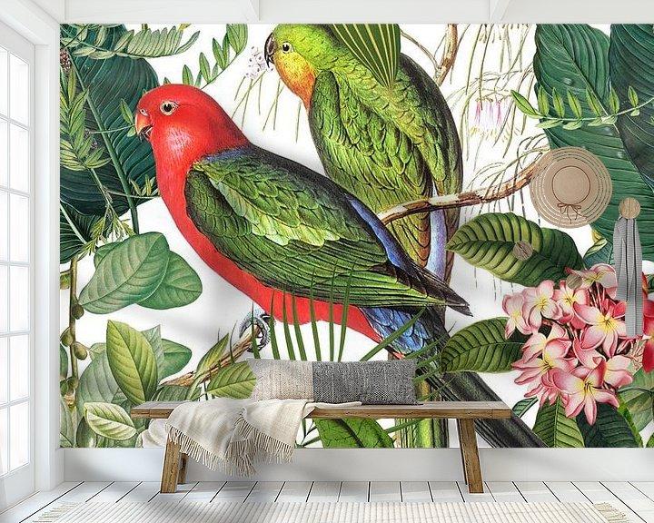 Sfeerimpressie behang: Exotic Birds In Tropical Paradise van Andrea Haase