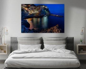 Het blauwe uurtje in Cinque Terre van Roy Poots