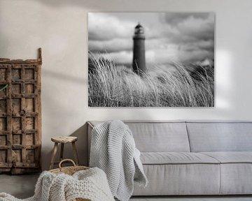 Leuchtturm Darßer Ort schwarz-weiß von Jörg Hausmann