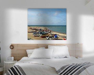 Kleurrijke bootjes op  het strand van Anne de Brouwer