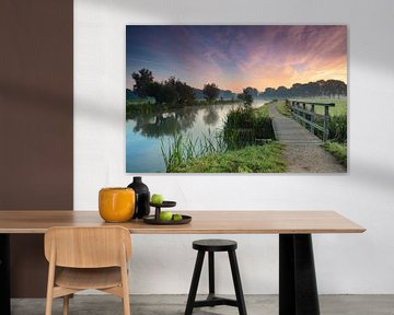 Ochtendlicht op een heldere dag langs de Kromme Rijn bij Bunnik, Provincie Utrecht van Arthur Puls Photography