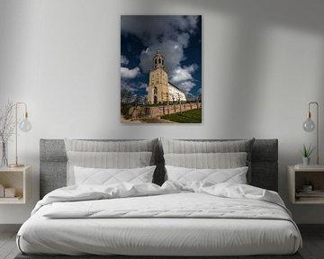 Centrale kerk en toren van het Friese plaatsje Dronrijp von Harrie Muis