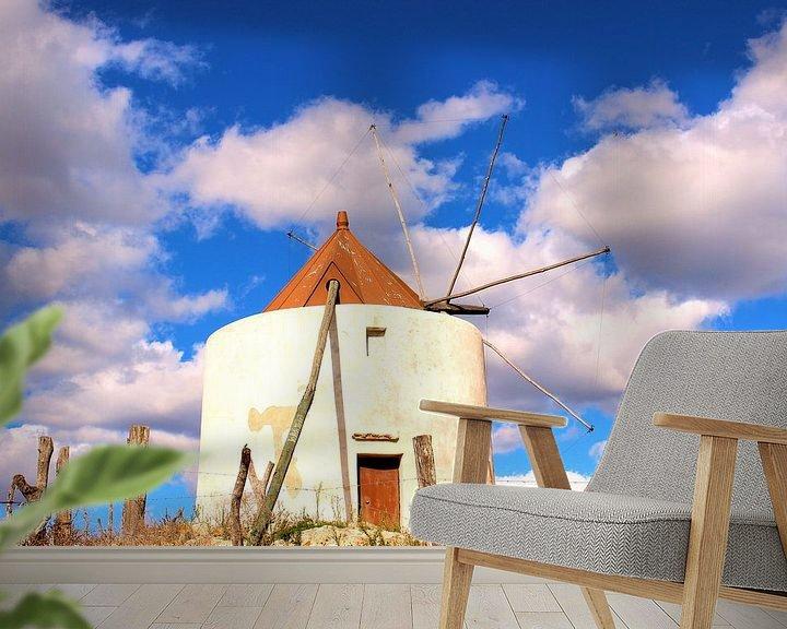 Sfeerimpressie behang: Molino de Vejer de la Frontera, Windmolen van Vejer de la Frontera van Anton Pronk