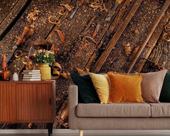 Beispiel fototapete: Weinlesewerkzeuge für die Holzbearbeitung von Jan van Broekhoven