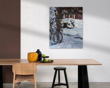 Fiets in de sneeuw von Stien Art