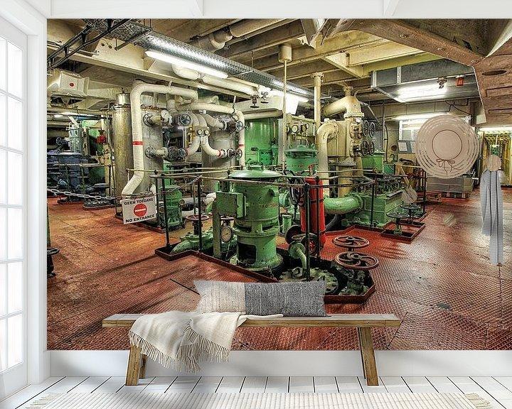 Sfeerimpressie behang: machinekamer van Maurice Hoogeboom