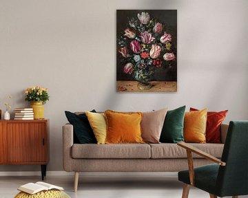 Vase mit Tulpen, Andries Daniels und Frans Francken der Jüngere
