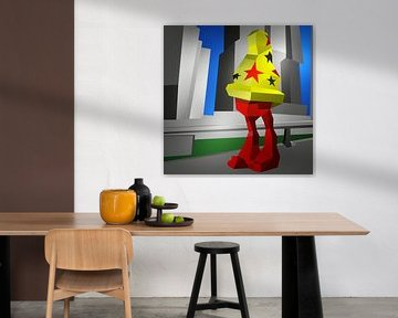 Cheech Wizard in Rotterdam (2019) von Pat Bloom - Moderne 3D, abstracte kubistische en futurisme kunst