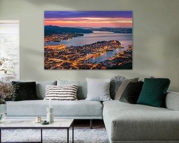 Coucher de soleil Bergen, Norvège sur Henk Meijer Photography