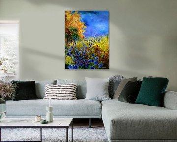 Blue cornflowers and orange trees von pol ledent