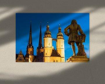 Marktplatz in Halle an der Saale bei Nacht von Werner Dieterich