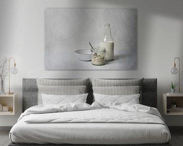 Stilleven havermout en melk, geïnspireerd op de werken van de Hollandse meesters