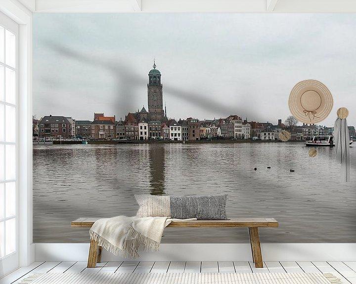 Sfeerimpressie behang: Panorama aanzicht van Deventer van Ingrid Aanen
