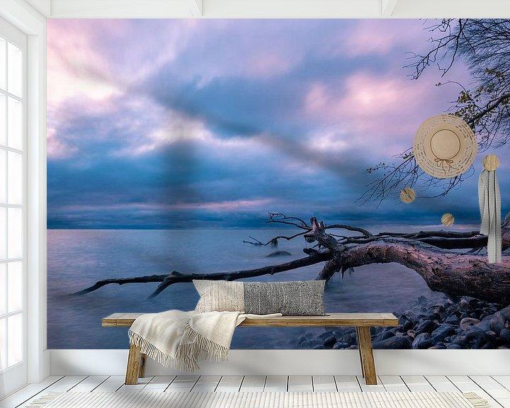 Sfeerimpressie behang: Baltic Sea coast on the island Moen in Denmark van Rico Ködder