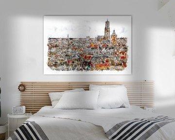 Utereg m'n stadsie (aquarel) von Art by Jeronimo