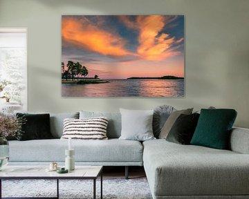 Zonsondergang Vänern-meer, Zweden van Henk Meijer Photography