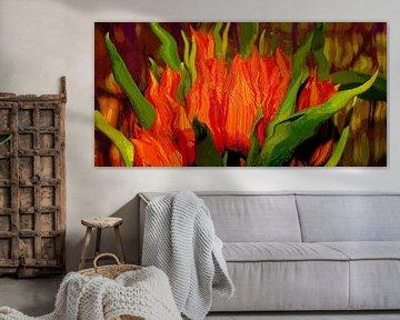 Digital oilpainting : Orange tulips van Michael Nägele