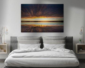 Zonsondergang boven IJsselmeer en Flevoland van Fotografiecor .nl