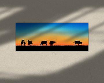 Sunset Cows van Harry Hadders