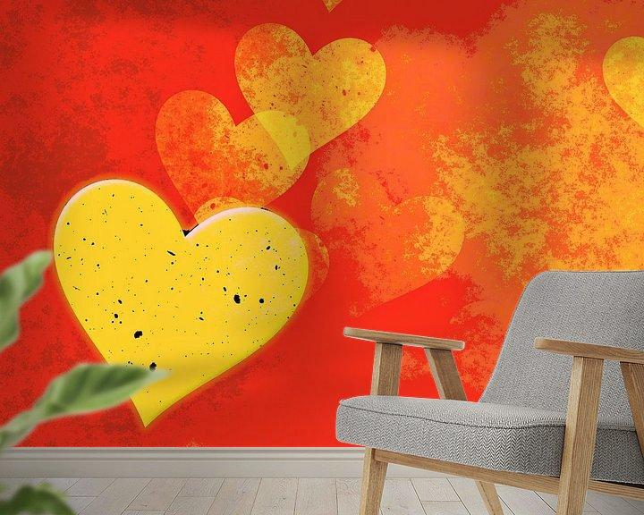 Beispiel fototapete: Goldene Herzen von Leopold Brix