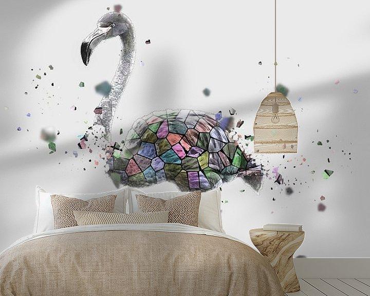 Beispiel fototapete: Das Mosaik des weißen Flamingos von Catherine Fortin
