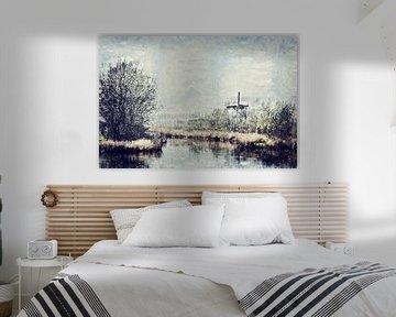 Zeeuws landschap op het eiland Tholen inclusief molen De Jager van Art by Jeronimo