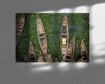 Traditionele vissersbootjes in Myanmar van Jesper Boot