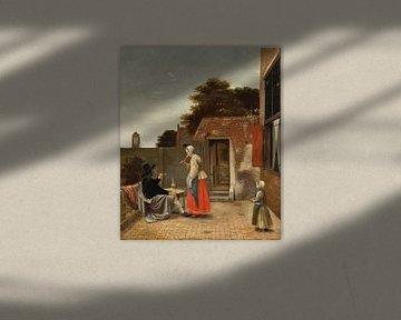 Een binnenplaats met een rokende man en een drinkende vrouw, Pieter de Hooch