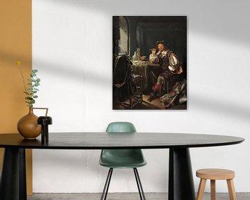 Ein Innenraum mit einem Soldaten, der eine Pfeife raucht, Frans van Mieris
