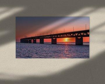 Zonsondergang bij de Oresund Brug, Malmö, Zweden van Henk Meijer Photography