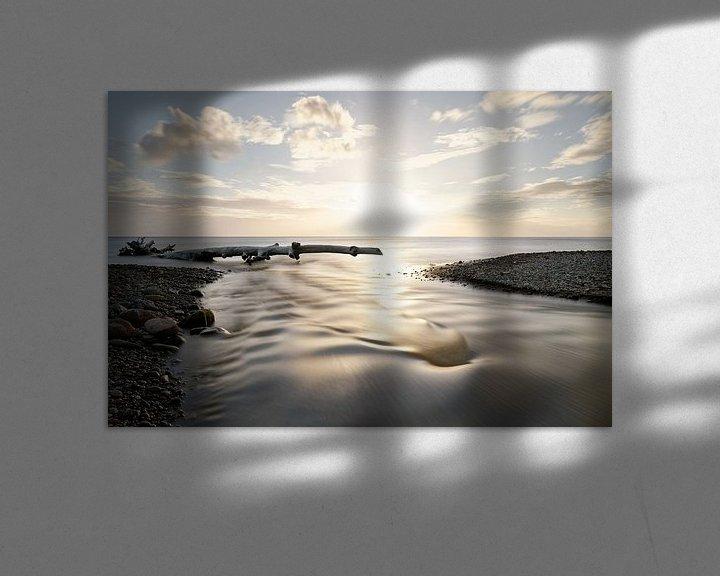 Beispiel: Sonnenuntergang am Meer mit Fluß und Treibholz von Ralf Lehmann
