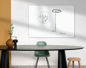 Schwarzer Strich sieht unbekannte Schriftzeichen in einem Kreis von Johann Bucher
