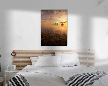 Zeelandbrug tijdens een prachtige zonsopkomst van Jos Pannekoek