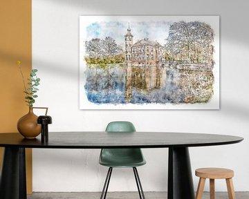 Kasteel Bouvigne in Breda (aquarel) van Art by Jeronimo
