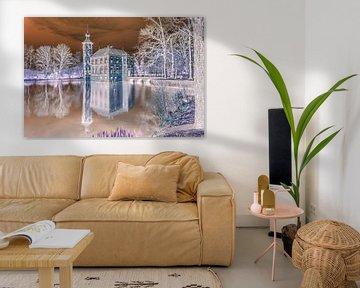Kasteel Bouvigne in Breda (negatieve print) van Art by Jeronimo
