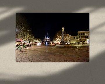 Deventer Brink in de nacht van Gerard de Zwaan