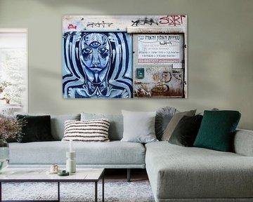 Gesicht und Graffiti von Inge Hogenbijl