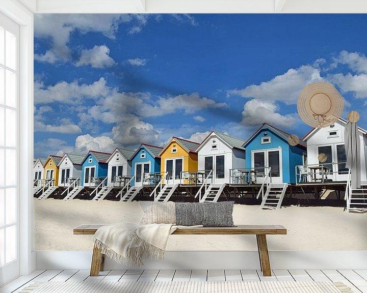 Impression: Les chalets de plage sur le stand de Flessingue en Zélande sur Zeeland op Foto