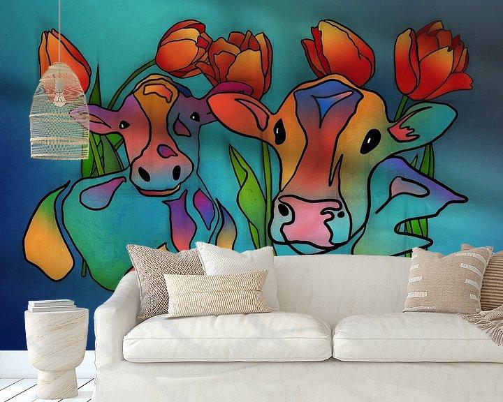 Beispiel fototapete: Koeien en Tulpen 2 von Yolanda Bruggeman