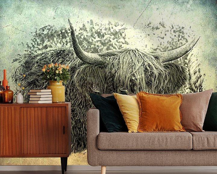 Sfeerimpressie behang: Schotse hooglander van Carla van Zomeren
