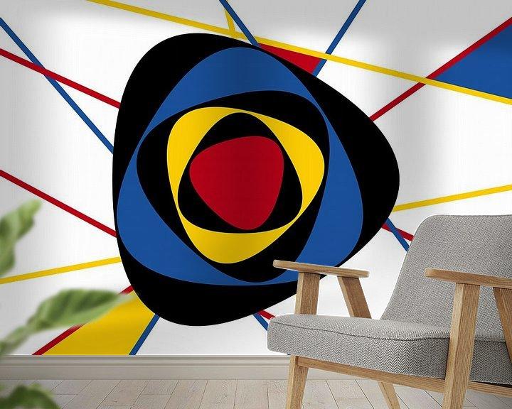 Sfeerimpressie behang: Piet Mondriaan abstracte kunst van Marion Tenbergen