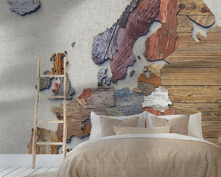 Beispiel fototapete: Holzkarte Europa von Frans Blok