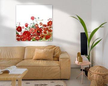 Rode bloemen weide vintage van Uta Naumann
